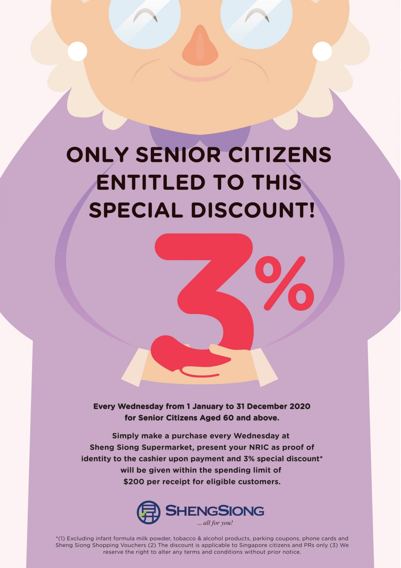 Senior Citizens Enjoys Additional 3% Discounts